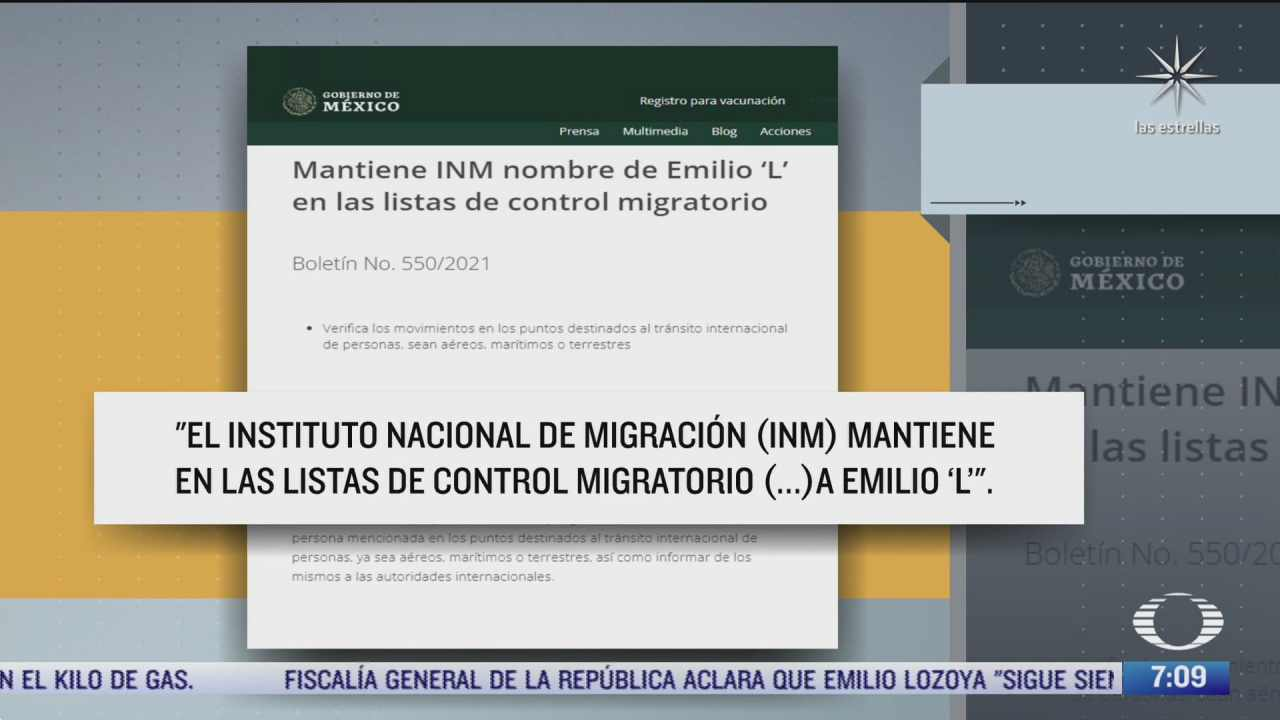lozoya continua en las listas de alerta migratoria inm