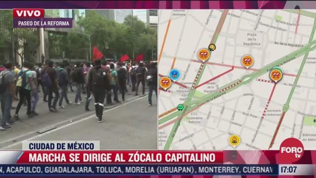 marcha se dirige al centro historico linea 7 del metrobus resulta afectada