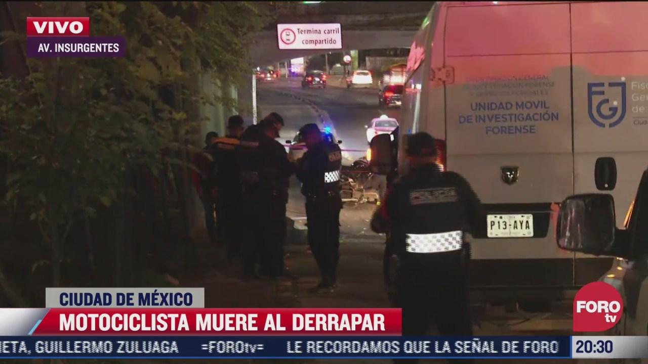 muere motociclista al derrapar en avenida insurgentes cdmx
