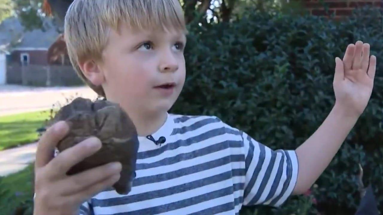 Julian Gagnon niño que descubrió el diente de mastodonte