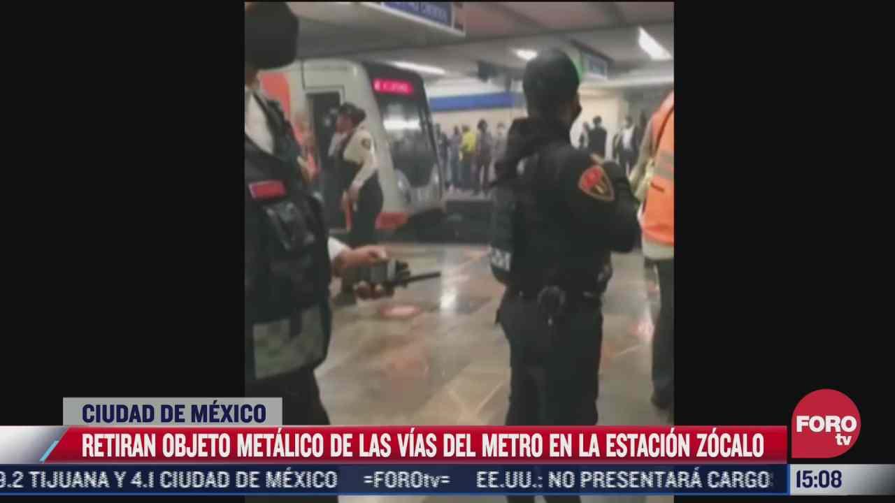 objeto metalico detiene servicio del metro en el zocalo