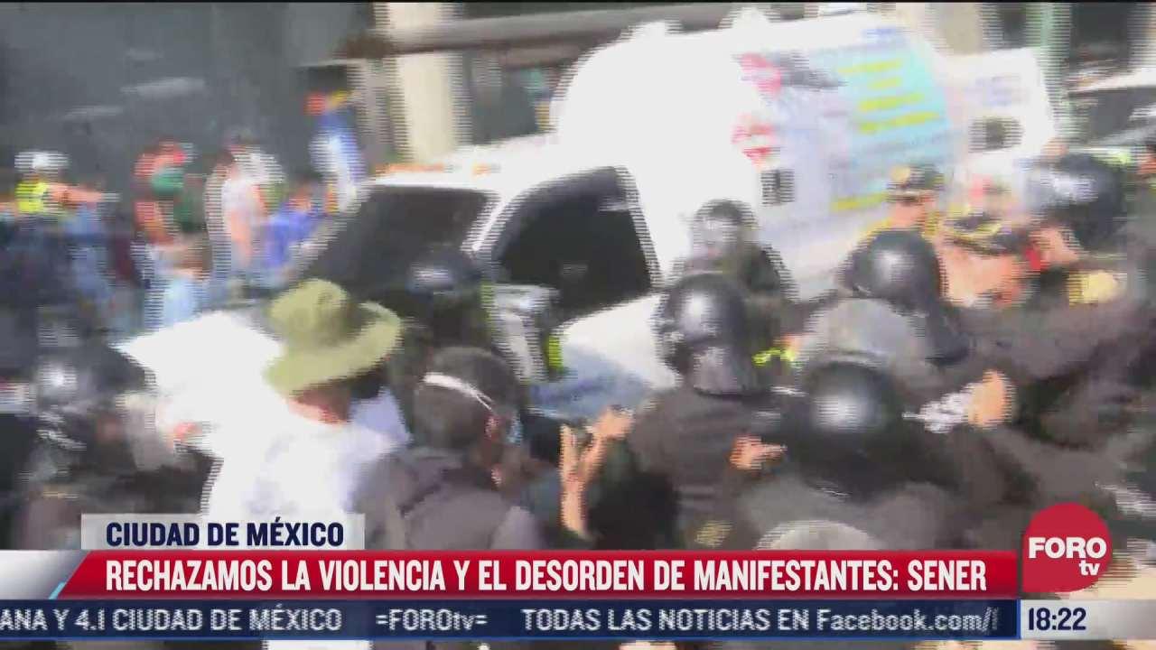 rechazamos la violencia y desorden de manifestantes sener ante protesta de gaseros