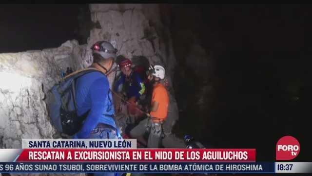 rescatan a excursionista en santa catarina nuevo leon