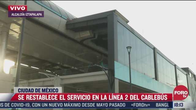 se restablece servicio de la linea 2 del cablebus
