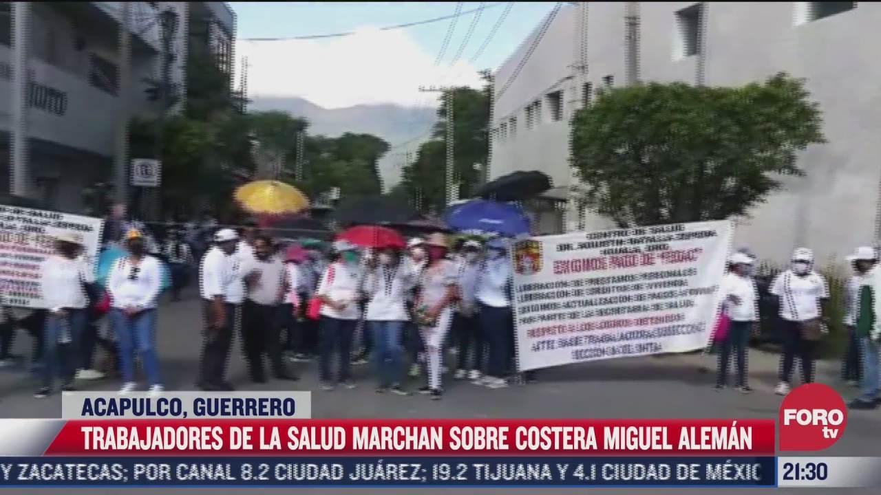 trabajadores de la salud se movilizan en la costera miguel aleman en acapulco