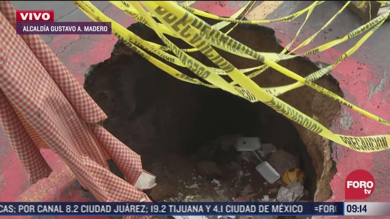 vecinos reportan enorme socavon en la alcaldia gustavo a madero
