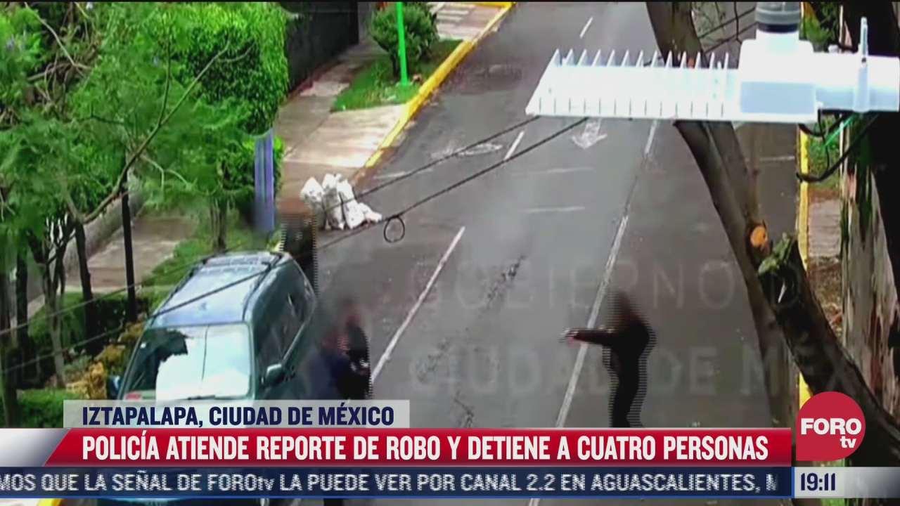 video detienen a cuatro en iztapalapa tras denuncia de victima por medio del