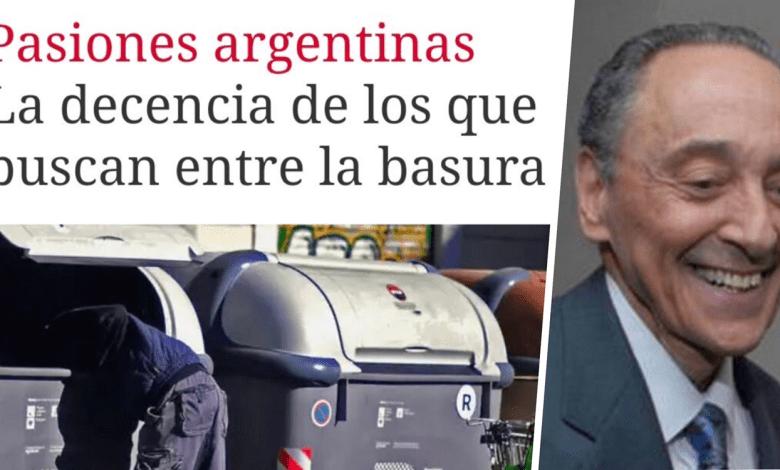 """El diario Clarín publicó ayer una nota titulada """"Pasiones argentinas: la decencia de los que buscan entre la basura"""", acompañada de una foto de personas revisando los contenedores de desechos de la Ciudad de Buenos Aires."""