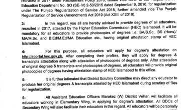 ATTESTATION OF DEGREES FROM HIGHER EDUCATION COMMISSION (HEC) ISLAMABAD FOR REGULARIZATION OF EDUCATORS RECRUITED IN THE YEAR OF 2017