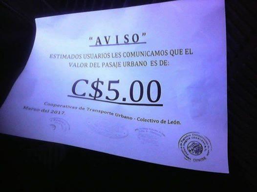 ULTIMA HORA. Comunicado Oficial Alcaldía Municipal de León, Aumento ilegal del transporte urbano colectivo en León.