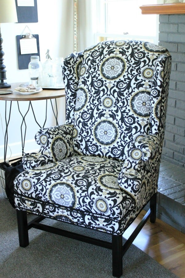 Reupholstering a Wingback Chair a NoSew method  Noting