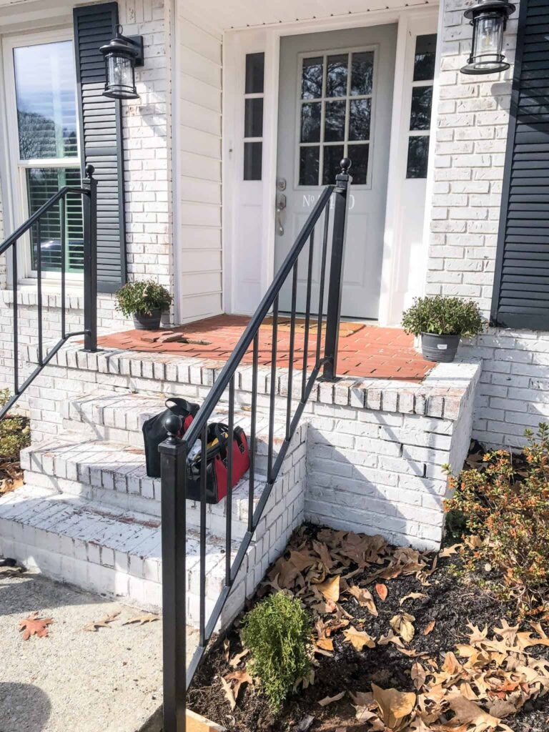 How To Repurpose Exterior Iron Stair Railings Noting Grace | Outside Stair Railing Installation | 3 Step | Rail | Painted Porch | Sunroom | Door Offset