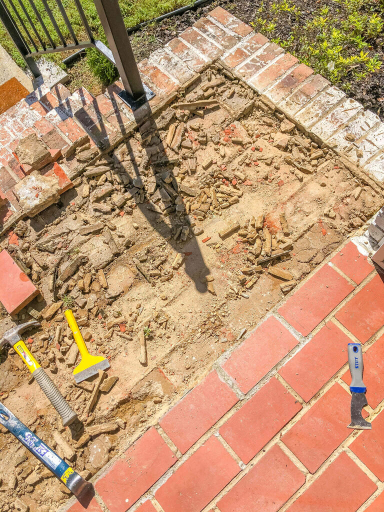 mortar wash a herringbone brick patio