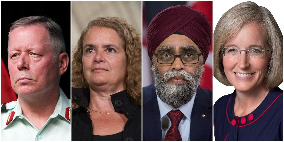 L to R: General Jonathan Vance, Julie Payetter, Defence Minister Harjit Sajjan, Tory MP Tamara Jansen