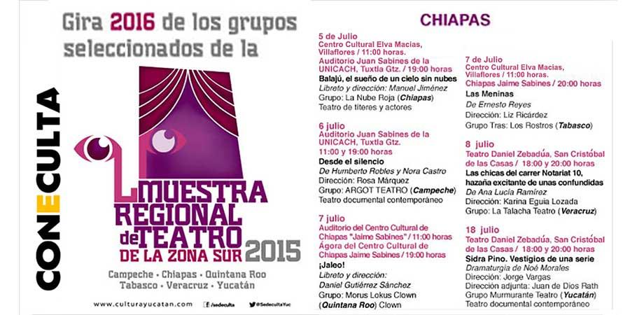 Chiapas será sede de la Muestra Regional de Teatro