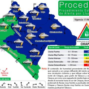 Protección Civil exhorta a reforzar medidas de prevención por lluvias intensas en Chiapas
