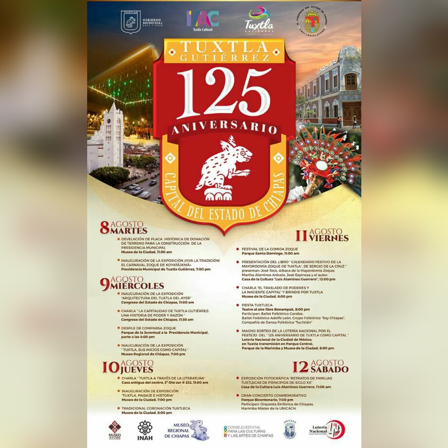Todo listo para celebrar el 125 aniversario de Tuxtla como capital de Chiapas