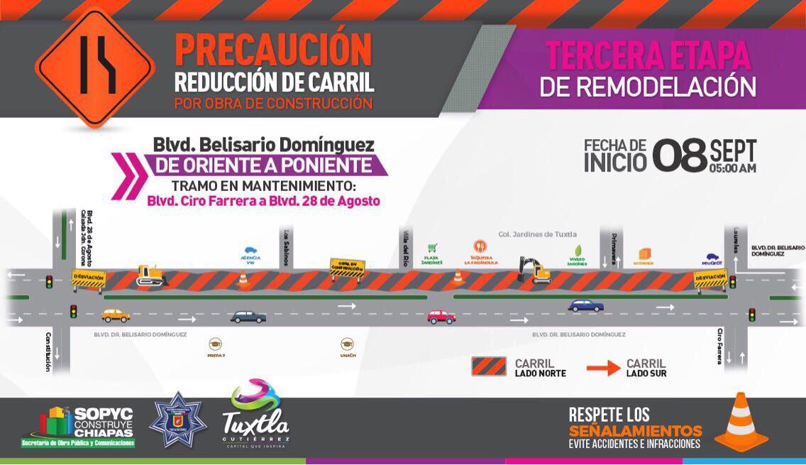 Habrá cierre vial por tercera etapa de remodelación del bulevar Belisario Domínguez