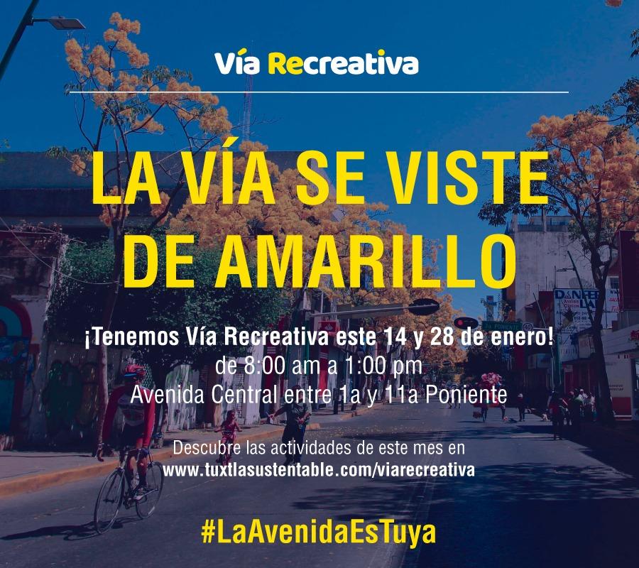 Invitan a familias capitalinas a Vía Recreativa en Tuxtla