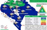 Se pronostican lluvias fuertes en Chiapas por el descenso de temperatura del Frente Frío No. 24