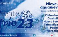 Se prevé ambiente de muy frío a gélido con bancos de niebla o neblina en el norte, el noreste, el oriente y el centro de México