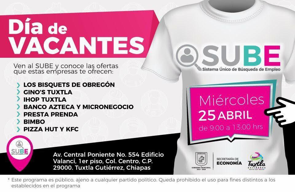 Invita Ayuntamiento de Tuxtla al Día de Vacantes