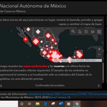 UNAM crea mapa con la evolución del coronavirus en México