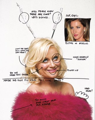 Amy Poehler takes matters into her own hands and suggests a few edits to her own photos during a photoshoot for New York Magazine's TV Issue in 2011.