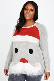 Grey Knitted Santa Print Jumper With Fluffy Beard