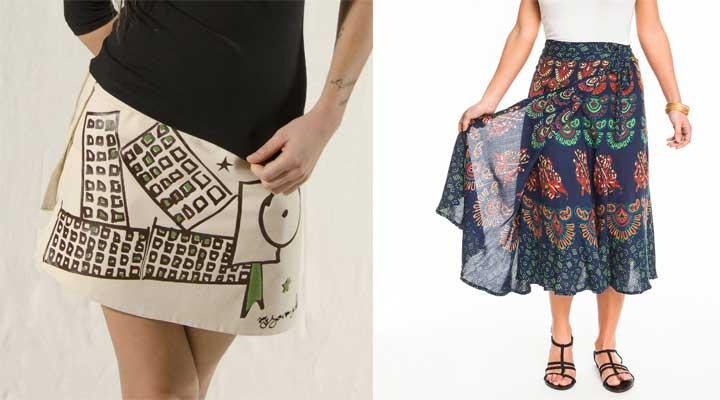 La falda pareo en presentación corta y larga, para la ciudad o la playa