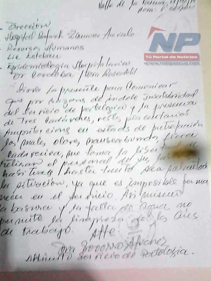 La carta dirigida por el personal de Patología del Hospital Dr. Rafael Zamora Arevalo a la dirección del nosocomio.