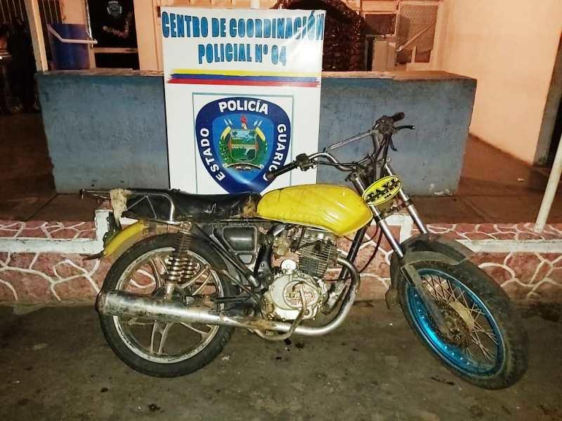 Lo motocicleta recuperada por Poliguárico no presentaba ninguna solicitud.