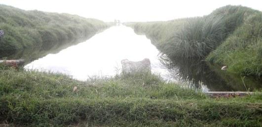 El canal de desagüe; el agua discurre hacia un lugar en donde complica menos la actividad