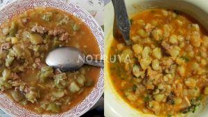 Platos de Iruya con muchas calorías, para el frío: guiso de papa verde y picante de panza.