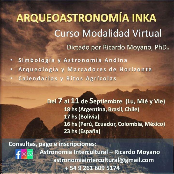 Curso de Arqueoastronomía Inka, modalidad virtual.