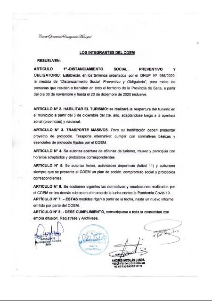 Resolución 17/20 - COEM Iruya, página 2