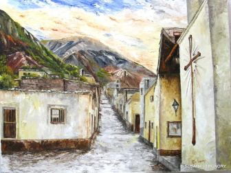 """Cerro Azul de Iruya"", por Susana Vergnory. Óleo con espátula, 60 x 80 cm"