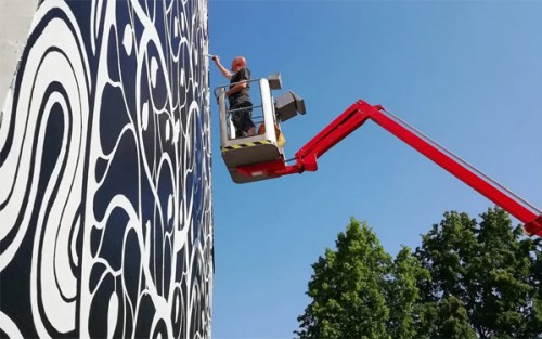 Stort vægmaleri i Odense