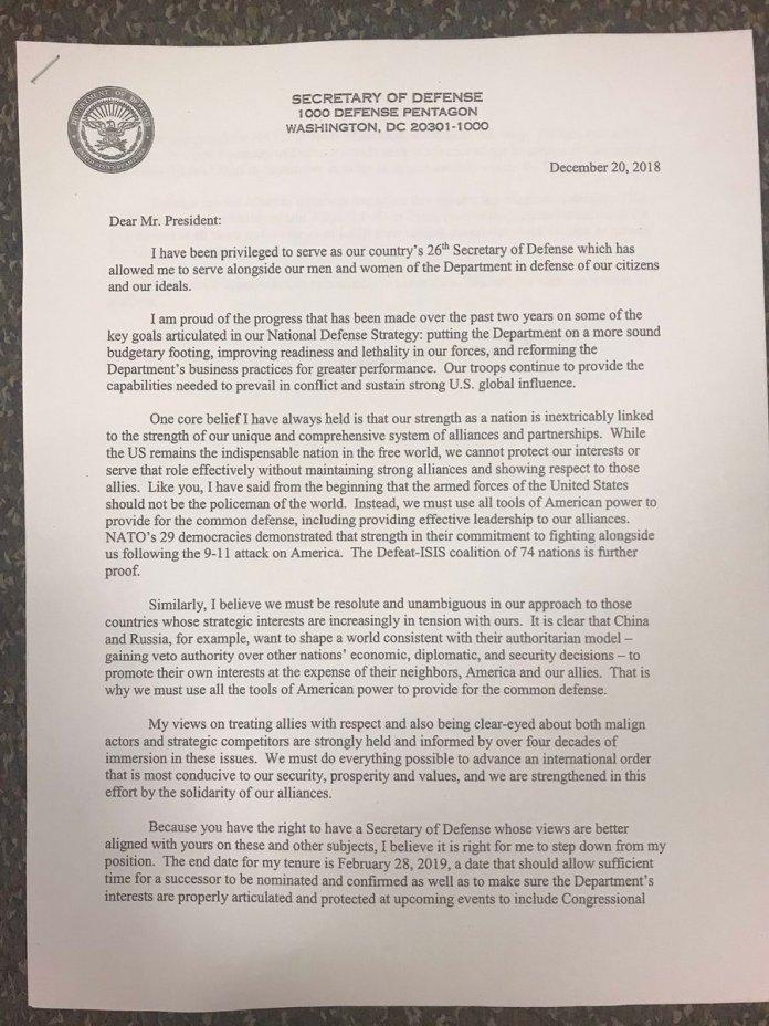 lettera dimissioni Mattis