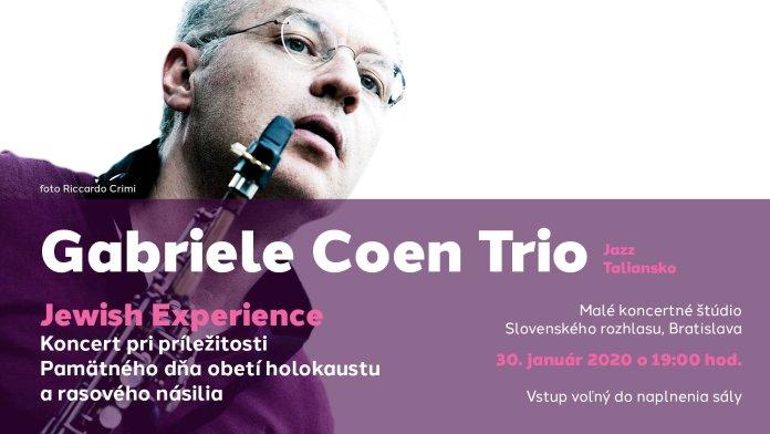 Locandina dell'evento Jazz del Gabriele Coen Trio a Bratislava.