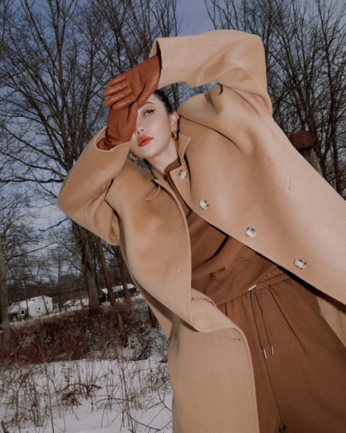 Jessica Wang wearing fall and winter coats featuring a camel belted coat // Jessica Wang - Notjessfashion.com