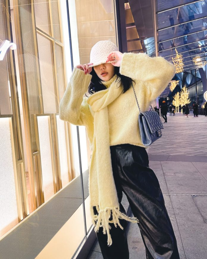 jessica wang wearing a fringe scarf and leather pants while sharing spring trends from nyfw // Jessica Wang - Notjessfashion.com