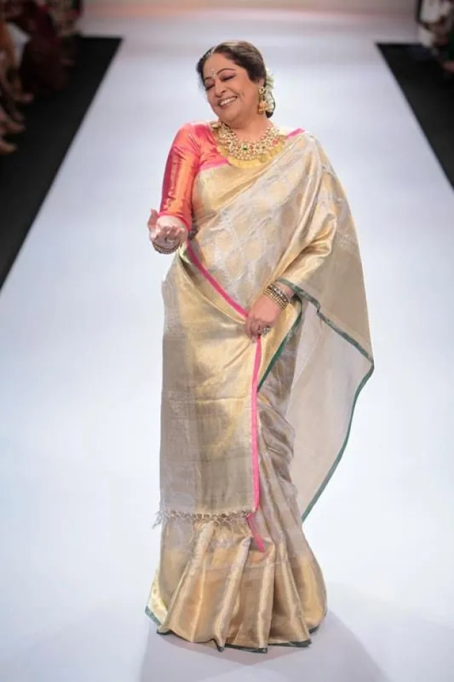 The elegance of a Kaneevaram, in shades of pastel with a hint of subtle gold via