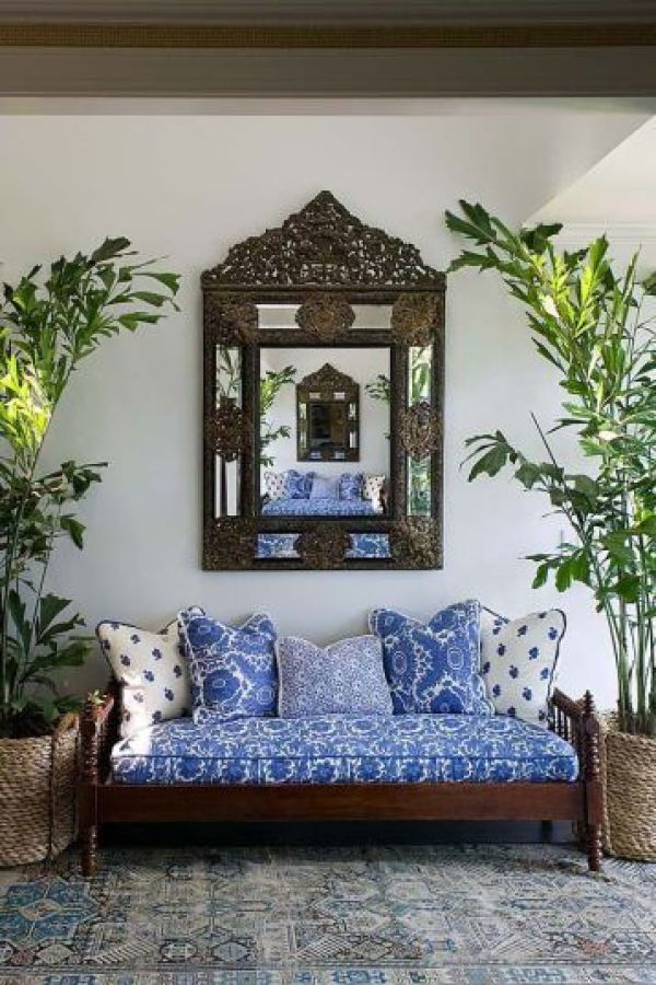 Block printed cushions in white and blue via