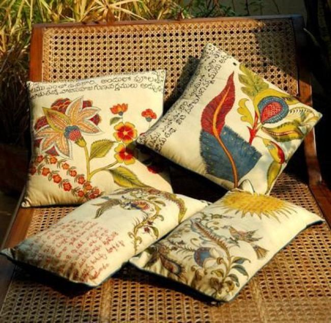 Indian Script, handpainted cushions
