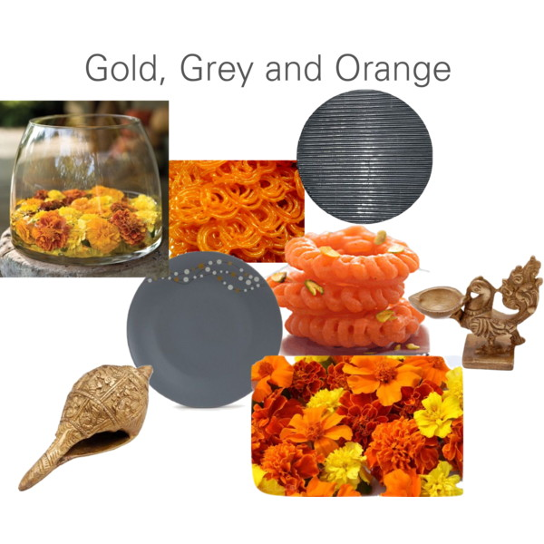 Jalebi and Imarti with pewter grey and gold