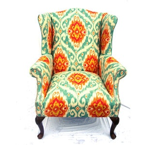 Teal and Orange wing chair