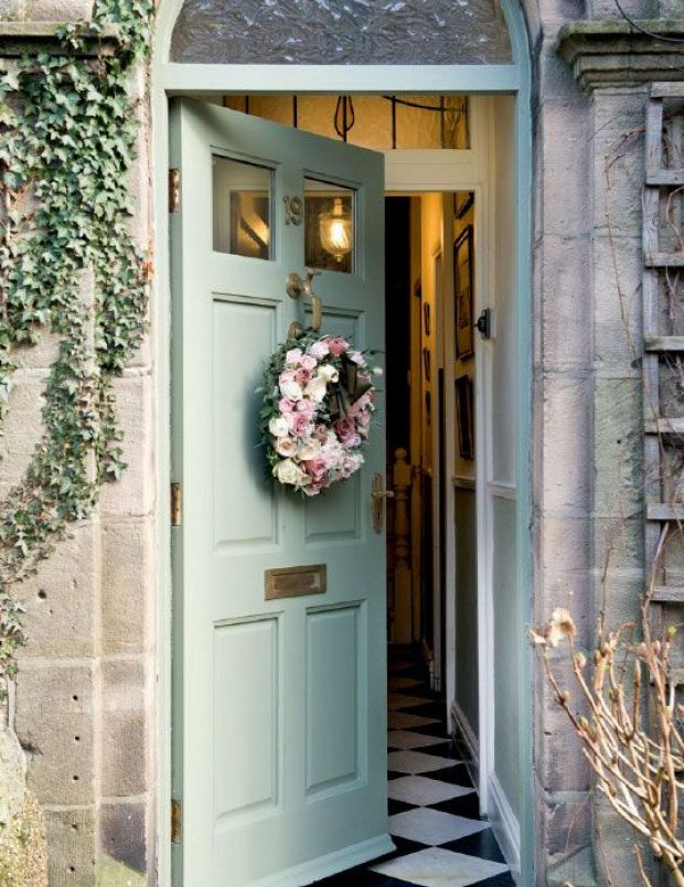 The door with a wreath...opens into a beautiful English home...via
