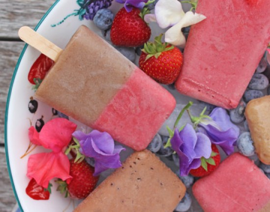 Creamy summer ice lollies - chocolate, strawberry and banana cinnamon via