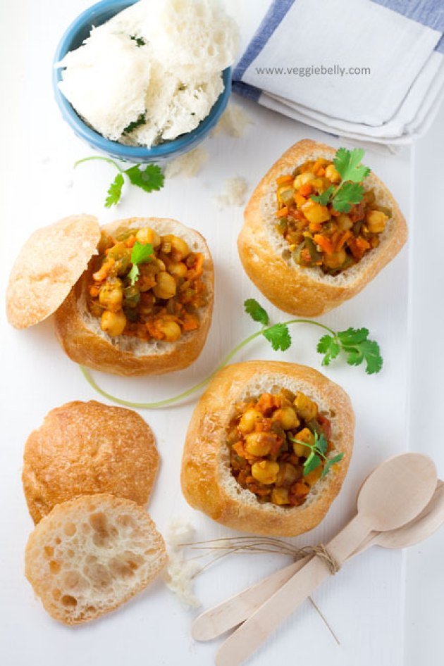 All the way from South Africa: Bunny Chow - chickpea curry or any bean stew stuffed inside a roll via